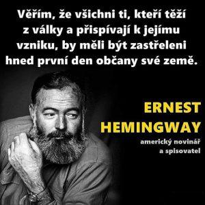 Ernst Hemingway o válce