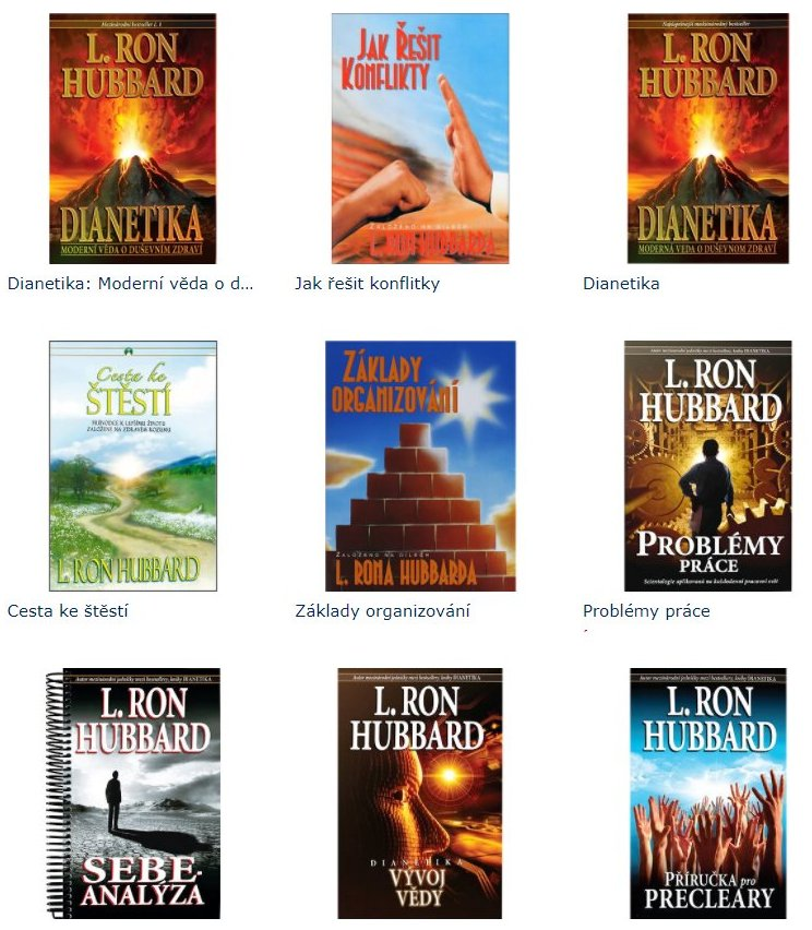 materiály Dianetiky a Scientologie